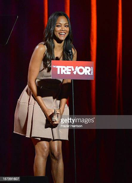 Actress Zoe Saldana onstage at Trevor Live honoring Katy Perry and Audi of America for The Trevor Project held at The Hollywood Palladium on December...