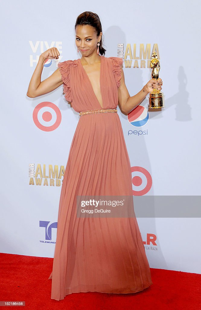 Actress Zoe Saldana poses in the press room at the 2012 NCLR ALMA Awards at Pasadena Civic Auditorium on September 16, 2012 in Pasadena, California.