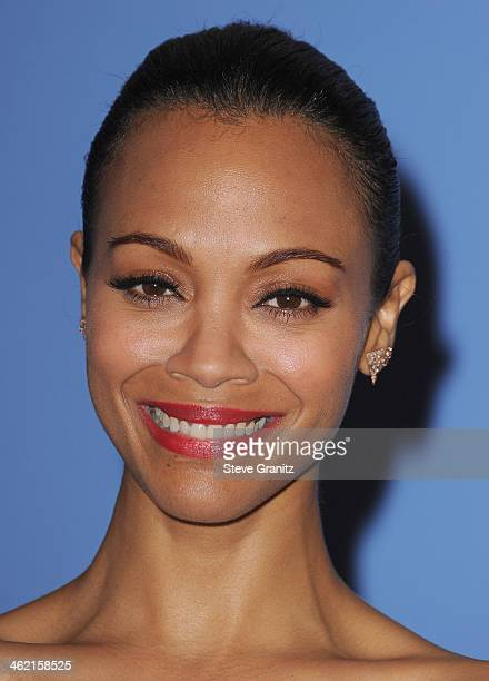 Actress Zoe Saldana poses in the press room during the 71st Annual Golden Globe Awards held at The Beverly Hilton Hotel on January 12 2014 in Beverly...