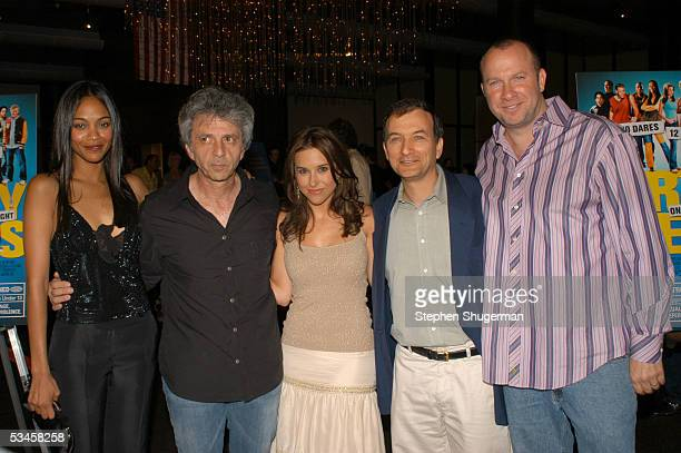 Actress Zoe Saldana producer Bill Civitella actress Lacey Chabert director David Kendall and producer Dan Kaplow attend the world premiere of Dirty...