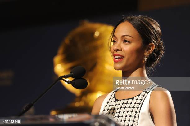 Actress Zoe Saldana speaks at the 71st Golden Globe Awards Nominations Announcement at The Beverly Hilton Hotel on December 12, 2013 in Beverly...