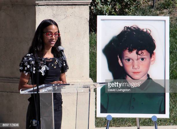 Actress Zoe Saldana speaks at the Anton Yelchin life celebration and statue unveiling ceremony at Hollywood Forever on October 8 2017 in Hollywood...
