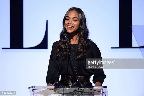 Actress Zoe Saldana speaks onstage during the 22nd Annual ELLE Women in Hollywood Awards presented by Calvin Klein Collection L'Oréal Paris and David...