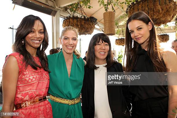 Actress Zoe Saldana, Stylist Petra Flannery, Stylist Jeanne Yang and actress Katie Holmes attend the The Hollywood Reporter & Jimmy Choo Inaugural 25...