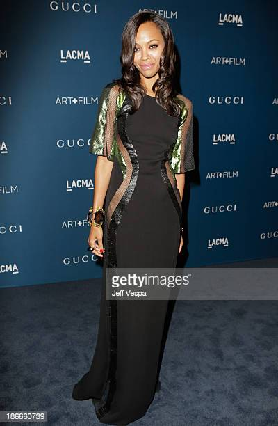Actress Zoe Saldana, wearing Gucci, attends the LACMA 2013 Art + Film Gala honoring Martin Scorsese and David Hockney presented by Gucci at LACMA on...