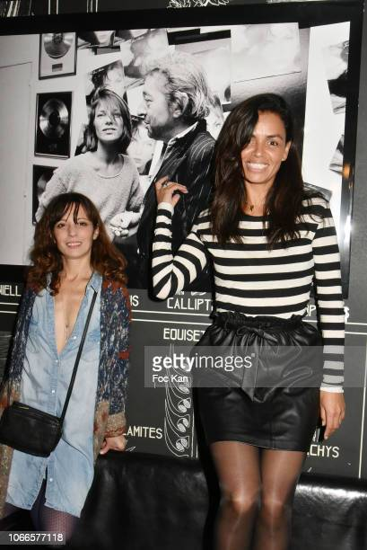 Actress Zoe Tellier and TV presenter Laurence Roustandjee attend 'Rock Stage' Pierre Terrasson Photo Exhibition Hosted by Galerie La Cle at Le...