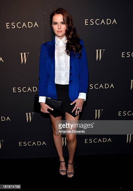 Actress Zoey Deutch arrives at the Escada and W Magazine shopping event benefiting the Cool Earth Organization at Escada Boutique on September 26...
