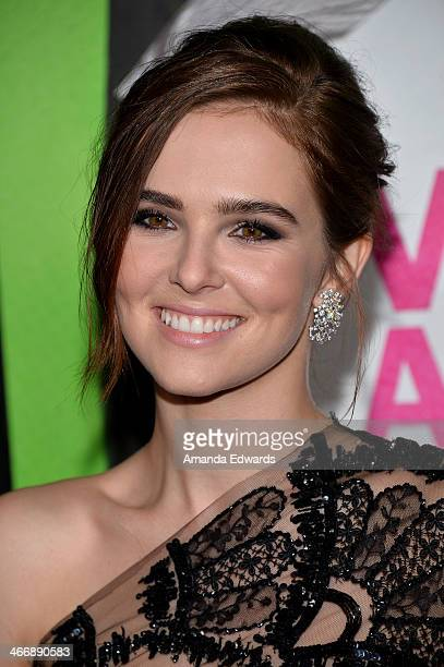Actress Zoey Deutch arrives at the Los Angeles premiere of 'Vampire Academy' at Regal Cinemas LA Live on February 4 2014 in Los Angeles California
