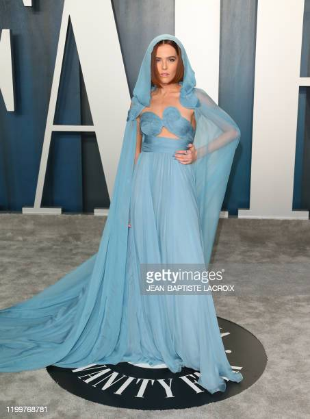 US actress Zoey Deutch attends the 2020 Vanity Fair Oscar Party following the 92nd Oscars at The Wallis Annenberg Center for the Performing Arts in...
