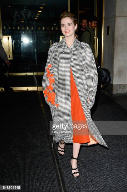 Actress Zoey Deutch leaves the 'Today Show' taping at the NBC Rockefeller Center Studios on February 28 2017 in New York City