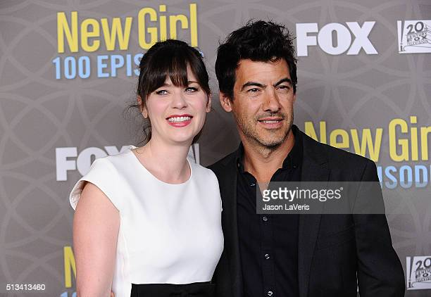 Actress Zooey Deschanel and husband Jacob Pechenik attend Fox's 'New Girl' 100th episode party at W Los Angeles West Beverly Hills on March 2 2016 in...