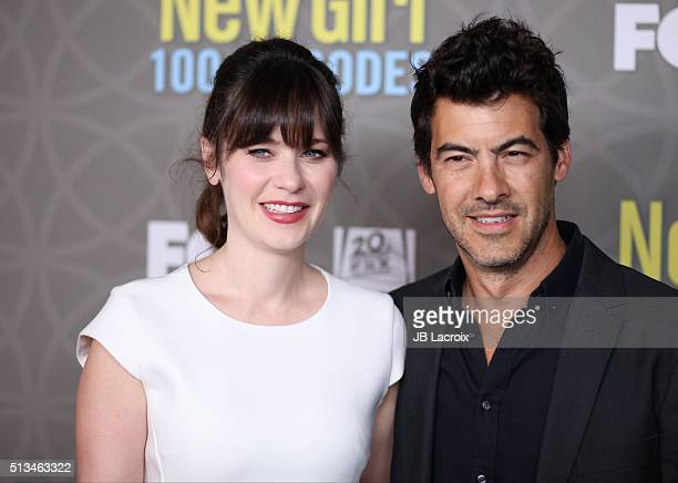 Actress Zooey Deschanel and husband Jacob Pechenik attend the Fox's 'New Girl' 100th episode party held at W Los Angeles Ð West Beverly Hills on...