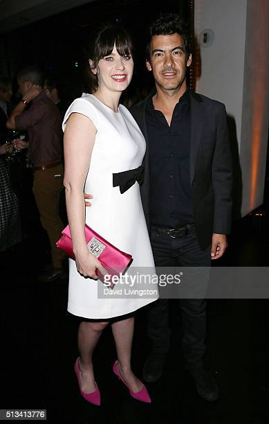 Actress Zooey Deschanel and husband/producer Jacob Pechenik attend Fox's 'New Girl' 100th Episode Party Inside at W Los Angeles West Beverly Hills on...