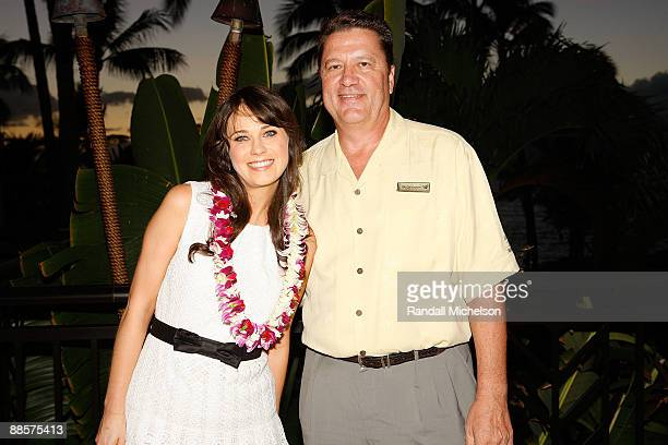 Actress Zooey Deschanel and Wailea Marriot General Manager Billy Countryman attends Mala Party at the 2009 Maui Film Festival on June 18 2009 in...