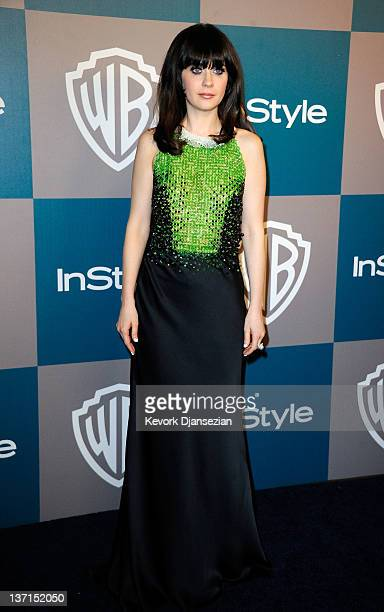 Actress Zooey Deschanel arrives at 13th Annual Warner Bros And InStyle Golden Globe Awards After Party at The Beverly Hilton hotel on January 15 2012...