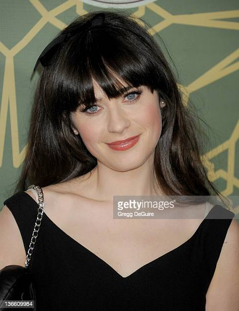 Actress Zooey Deschanel arrives at the 2012 FOX TCA AllStar Party at Castle Green on January 8 2012 in Pasadena California