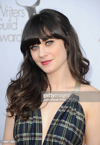 Actress Zooey Deschanel arrives at the 2012 Writers Guild Awards at the Hollywood Palladium on February 19, 2012 in Los Angeles, California.