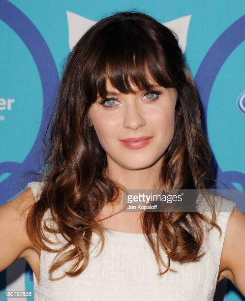 Actress Zooey Deschanel arrives at the 2013 Fox Fall EcoCasino Party at The Bungalow on September 9 2013 in Santa Monica California