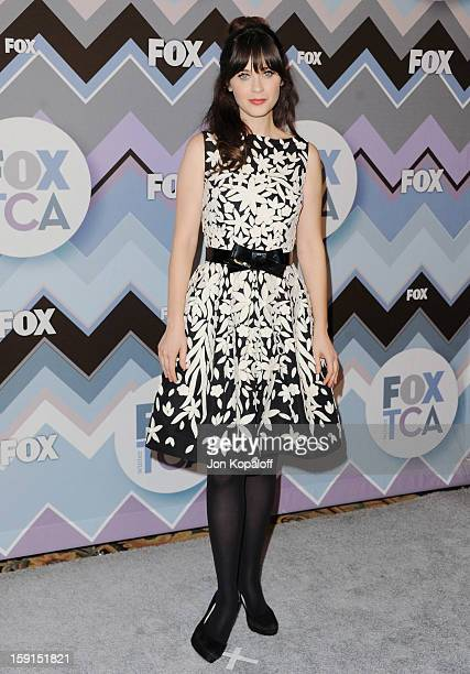 Actress Zooey Deschanel arrives at the 2013 Winter TCA FOX AllStar Party at The Langham Huntington Hotel and Spa on January 8 2013 in Pasadena...