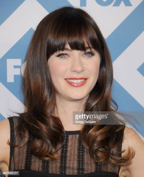 Actress Zooey Deschanel arrives at the 2014 TCA winter press tour FOX allstar party at The Langham Huntington Hotel and Spa on January 13 2014 in...