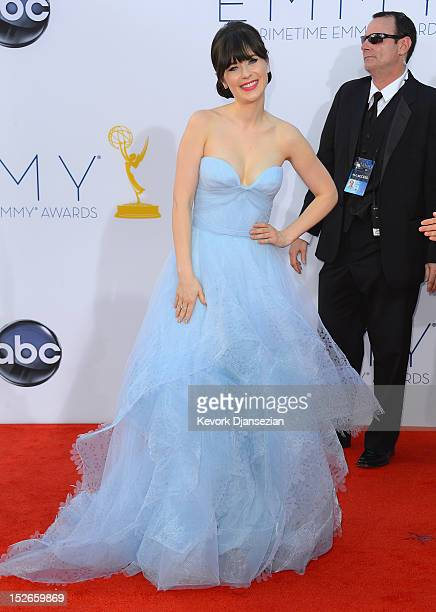 Actress Zooey Deschanel arrives at the 64th Annual Primetime Emmy Awards at Nokia Theatre LA Live on September 23 2012 in Los Angeles California