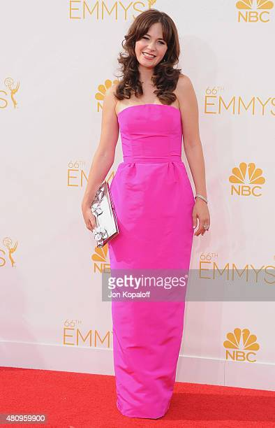 Actress Zooey Deschanel arrives at the 66th Annual Primetime Emmy Awards at Nokia Theatre LA Live on August 25 2014 in Los Angeles California