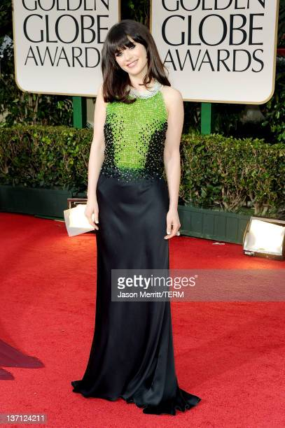 Actress Zooey Deschanel arrives at the 69th Annual Golden Globe Awards held at the Beverly Hilton Hotel on January 15, 2012 in Beverly Hills,...