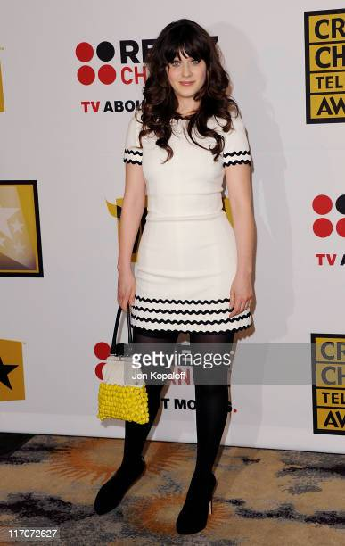 Actress Zooey Deschanel arrives at the Critics' Choice Television Awards Luncheon at Beverly Hills Hotel on June 20 2011 in Beverly Hills California