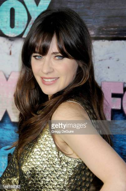 Actress Zooey Deschanel arrives at the FOX AllStar Party on July 23 2012 in West Hollywood California