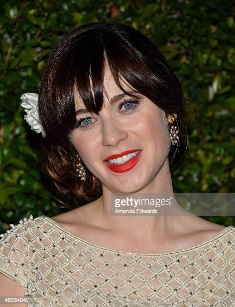Actress Zooey Deschanel arrives at the FOX/FX Golden Globe Party at the FOX Pavilion at the Golden Globes on January 12 2014 in Beverly Hills...