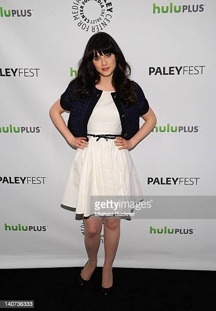 """Actress Zooey Deschanel arrives at The Paley Center For Media's PaleyFest 2012 honoring """"New Girl"""" at Saban Theatre on March 5, 2012 in Beverly..."""