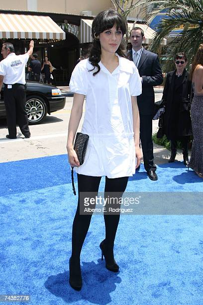 Actress Zooey Deschanel arrives at the Sony Pictures Premiere of Surfs Up on June 2 2007 in Los Angeles California
