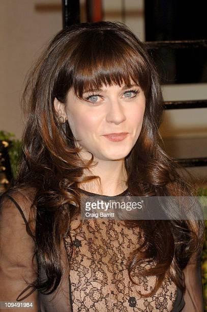 Actress Zooey Deschanel arrives at the Vanity Fair Oscar party hosted by Graydon Carter held at Sunset Tower on February 27 2011 in West Hollywood...