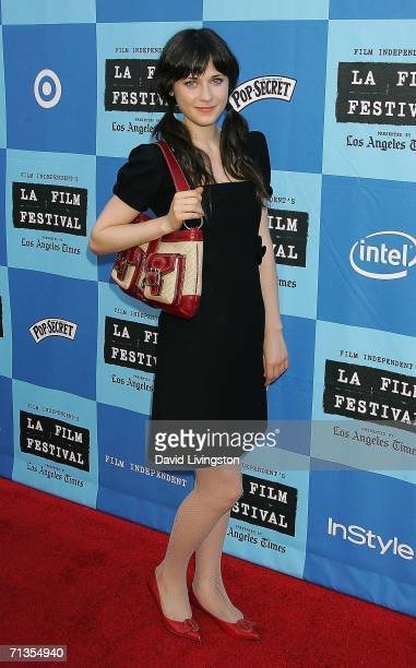 Actress Zooey Deschanel arrives for the Los Angeles Film Festival's closing night premiere of 'Little Miss Sunshine' at the Wadsworth Theater on July...