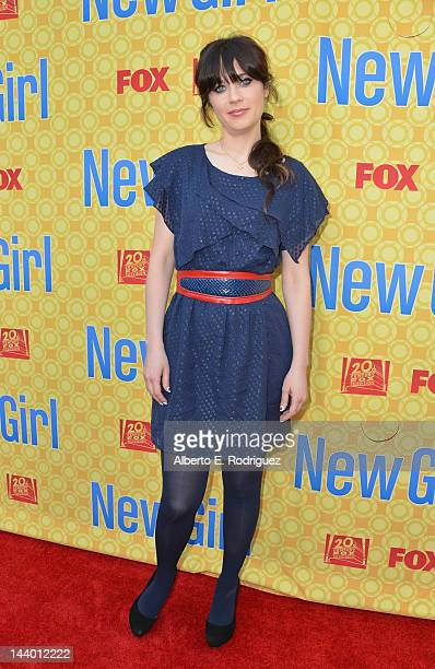 Actress Zooey Deschanel arrives to The Academy of Television Arts Sciences' screening of Fox's 'New Girl' at Leonard H Goldenson Theatre on May 7...
