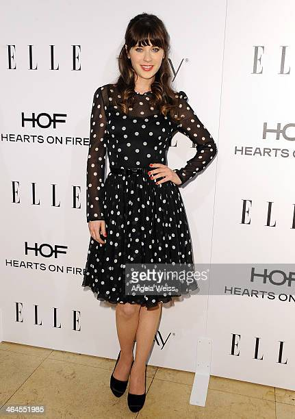 Actress Zooey Deschanel attends ELLE's Annual Women in Television Celebration at Sunset Tower on January 22 2014 in West Hollywood California