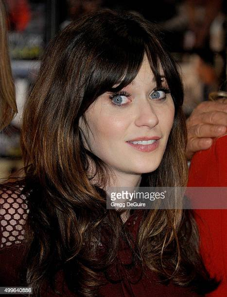 Actress Zooey Deschanel attends FOX's 'New Girl' 100th Episode CakeCutting at Fox Studio Lot on December 2 2015 in Century City California