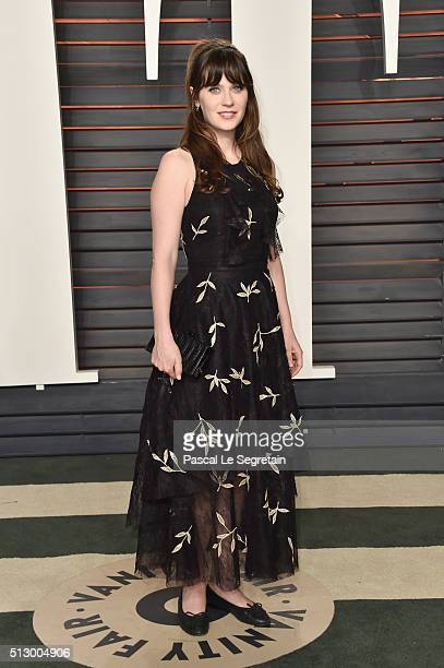Actress Zooey Deschanel attends the 2016 Vanity Fair Oscar Party Hosted By Graydon Carter at the Wallis Annenberg Center for the Performing Arts on...