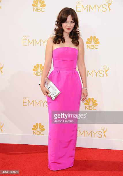 Actress Zooey Deschanel attends the 66th annual Primetime Emmy Awards at Nokia Theatre L.A. Live on August 25, 2014 in Los Angeles, California.