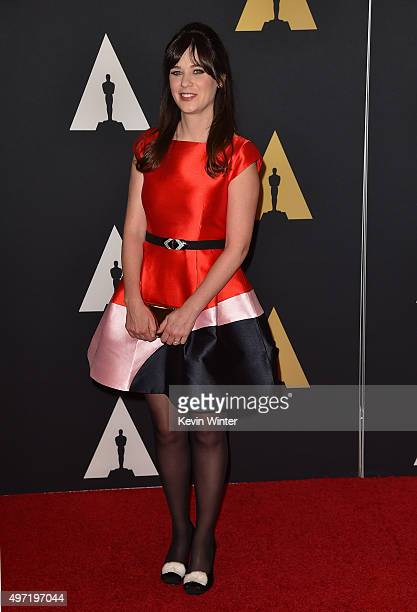 Actress Zooey Deschanel attends the Academy of Motion Picture Arts and Sciences' 7th annual Governors Awards at The Ray Dolby Ballroom at Hollywood...