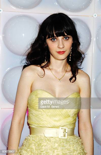 Actress Zooey Deschanel attends the aftershow party following the World Premiere of 'Hitchhiker's Guide To The Galaxy' at Freemasons Hall on April 20...