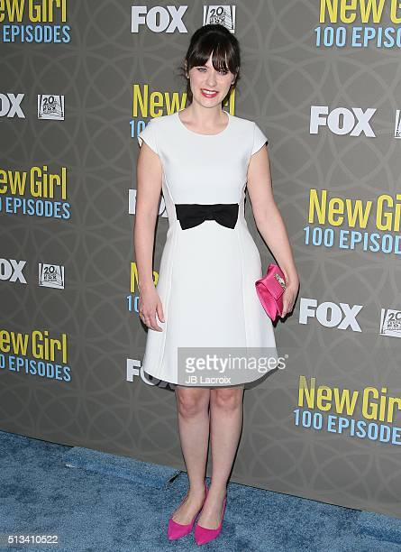 Actress Zooey Deschanel attends the Fox's 'New Girl' 100th episode party held at W Los Angeles Ð West Beverly Hills on March 2 2016 in Westwood...