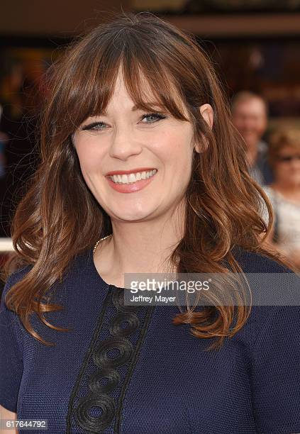 Actress Zooey Deschanel attends the premiere of 20th Century Fox's 'Trolls' at the Regency Village Theater on October 23 2016 in Westwood California