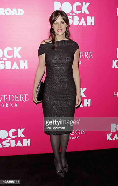 Actress Zooey Deschanel attends the 'Rock The Kasbah' New York premiere at AMC Loews Lincoln Square on October 19 2015 in New York City