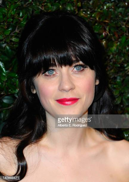 Actress Zooey Deschanel attends the world premiere of 'My Valentine' video hosted by Paul McCartney and Stella McCartney on April 13 2012 in West...