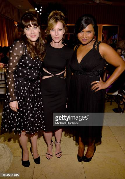 Actress Zooey Deschanel ELLE EditorinChief Robbie Myers and actress Mindy Kaling attend ELLE's Annual Women in Television Celebration on January 22...