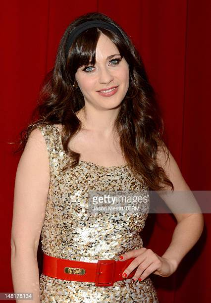 Actress Zooey Deschanel poses backstage during the 2012 ESPY Awards at Nokia Theatre LA Live on July 11 2012 in Los Angeles California