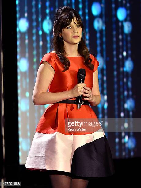 Actress Zooey Deschanel speaks onstage during the Academy of Motion Picture Arts and Sciences' 7th annual Governors Awards at The Ray Dolby Ballroom...