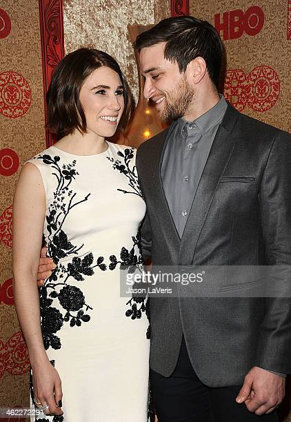 Actress Zosia Mamet and actor Evan Jonigkeit attends HBO's Golden Globe Awards after party at Circa 55 Restaurant on January 12 2014 in Los Angeles...