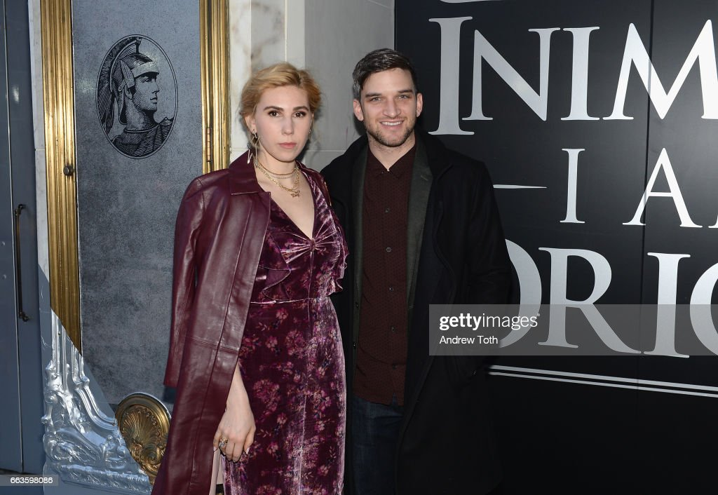 Actress Zosia Mamet (L) and husband Evan Jonigkeit attend the American Express Celebrates The New Platinum Card With Hamilton Takeover Experience on April 1, 2017 in New York City.